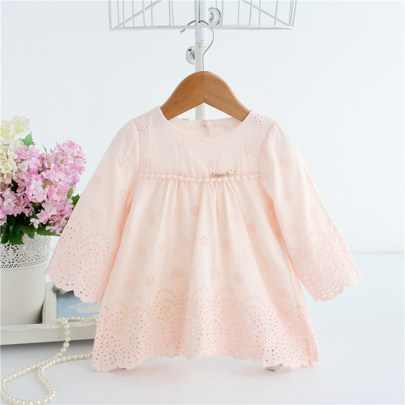 Baby Dresses Long Sleeve Floral Jacquard Dress White Pink Newborn Girls 1 Year Birthday Dress Embroidered Baptism Vestidos A014 box pleated floral jacquard satin cami dress
