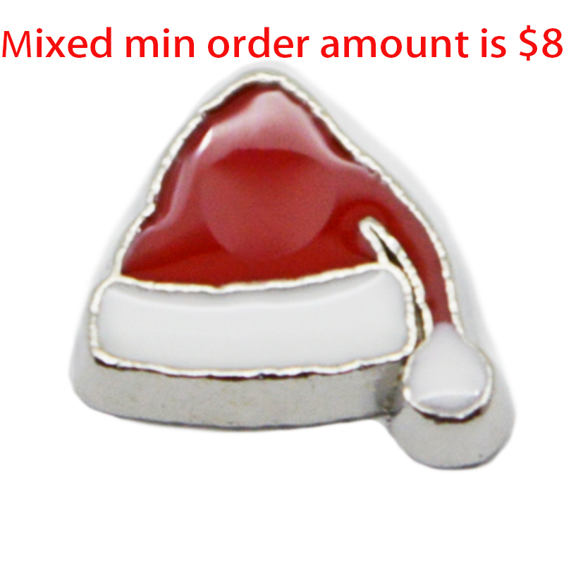 Hot Sale  jewelry  10PCS  Christmas Hat   floating  charms   for glass lockets,Y-102