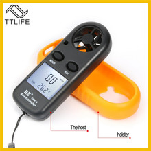 TTLIFE RZ 818 Portable Anemometer Anemometro Thermometer GM816 Wind Speed Gauge Meter Windmeter 30m/s LCD Digital Handheld Tool
