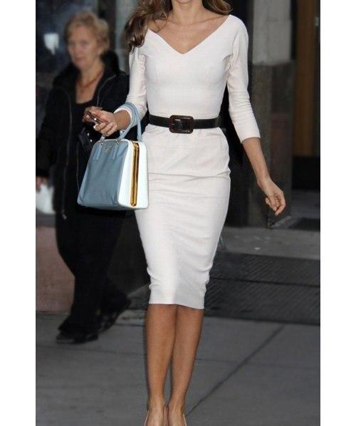 vestidos elegantes con manga tres cuartos
