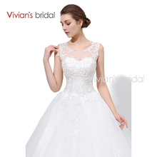 Vivian's Bridal Lace Tulle A Line Country Western Wedding Dresses Sleeveless Bride Bridal Dress Court Train Women Wedding Gown