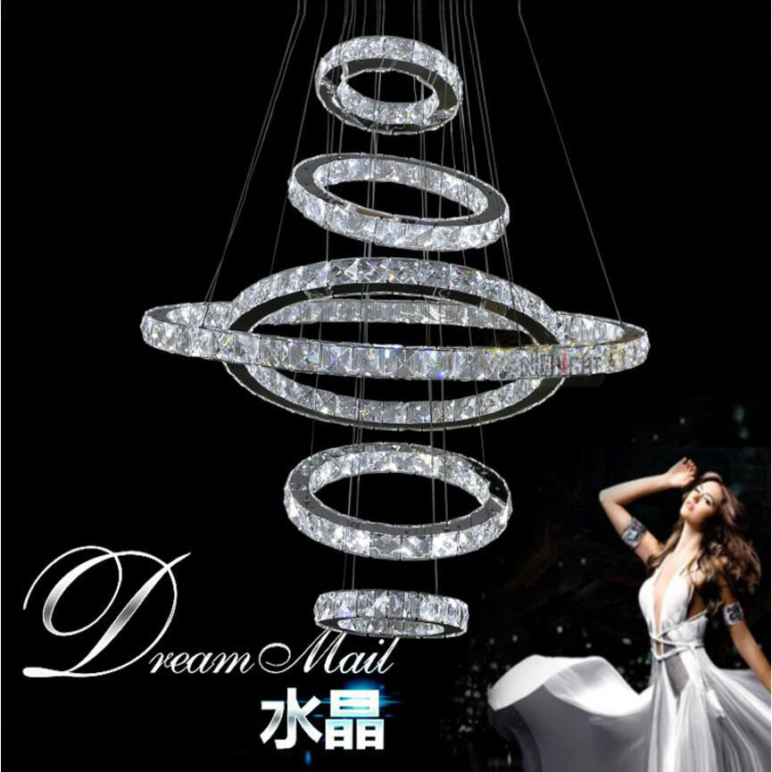 Free shipping the Ring crystal pendant lamp Stairs LED crystal lamp living room lamp three faceted k9 crystal pendant lamp 3 rings k9 crystal pendant lamp diamond