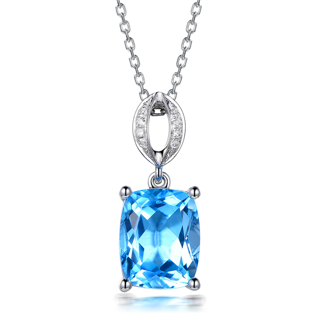 necklace for sapphire blue women dp gemstone caperci light amazon created infinity pendant sterling jewelry com silver