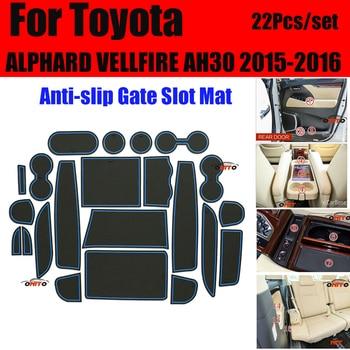 Bonne qualité Grilles en caoutchouc porte rainure tapis porte fente Pad couvre tapis de tasse pour Toyota ALPHARD VELLFIRE AH30 2015-2016 22 pièces/ensemble