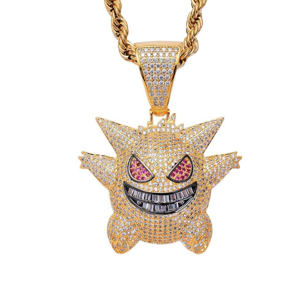 Newest Cute Pet Elf Pokemon Go Charm Micro Pave CZ Stone Gold Gengar Pendant Statement Necklace Collier HipHop Jewelry