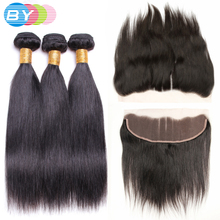 BY Hair Pre-Colored Brazilian Non-remy Human Hair Weave Natural Color Straight Hair 3 Bundles With 13×4 Lace Frontal Three Part