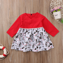 red cartoon cute christmas toddler girls kids reindeer beauty xmas long sleeve party dress floral dress princess dress
