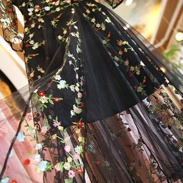 Rimiut Mexican Embroidered Mesh Women Long Dress/ Boho Designer Net Yarn Dress