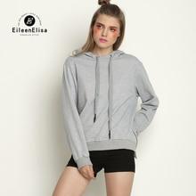 Gray Hoodies Sweatshirt Women Autumn Asymmetry Side Zipper Hooded Pullovers Casual Knitted Sweatshirts 2017