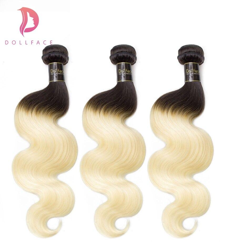 FäHig Dollface Menschliches Haar Bundles Körper Welle Ombre 1b/613 Haarwebart Bundles 3 Stück Remy Haar Verlängerung 3:7 Anteil Freies Verschiffen In Vielen Stilen Haarsalon Versorgungskette