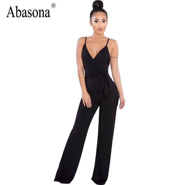 430938a942 Abasona Backless romper women jumpsuit high Waist sexy spaghetti strap jumpsuit  v neck solid summer rompers casual overalls
