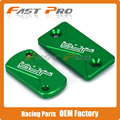 CNC Green Front & Rear Brake Reservoir Fluid Cover Cap Fit Kawasaki KX125 KX250 03-08 KX250F 04-16 KX450F 06-16 KLX450R 08-15