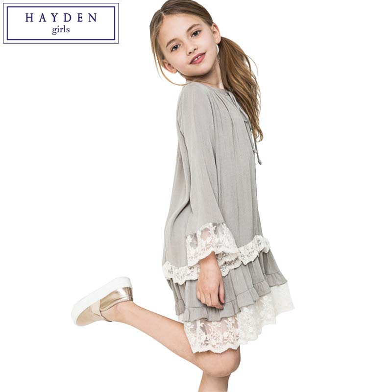 HAYDEN Girls Dresses Age 10 11 12 Years Vintage Girls Ruffle Lace Dress Girl Clothes Size 7 to 14 Brand Dress Kids 2017 Spring цена 2017