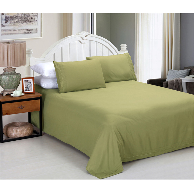Army Green Bed Sheets Set Pure Color Fitted Sheet Bedspreads Bed Linen  Mattress Cover Pillowcase Bedding
