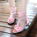 girls sandals 2017 summer new high help lace edge pink bow princess shoes Tassel big boy fish mouth shoes shoes for children