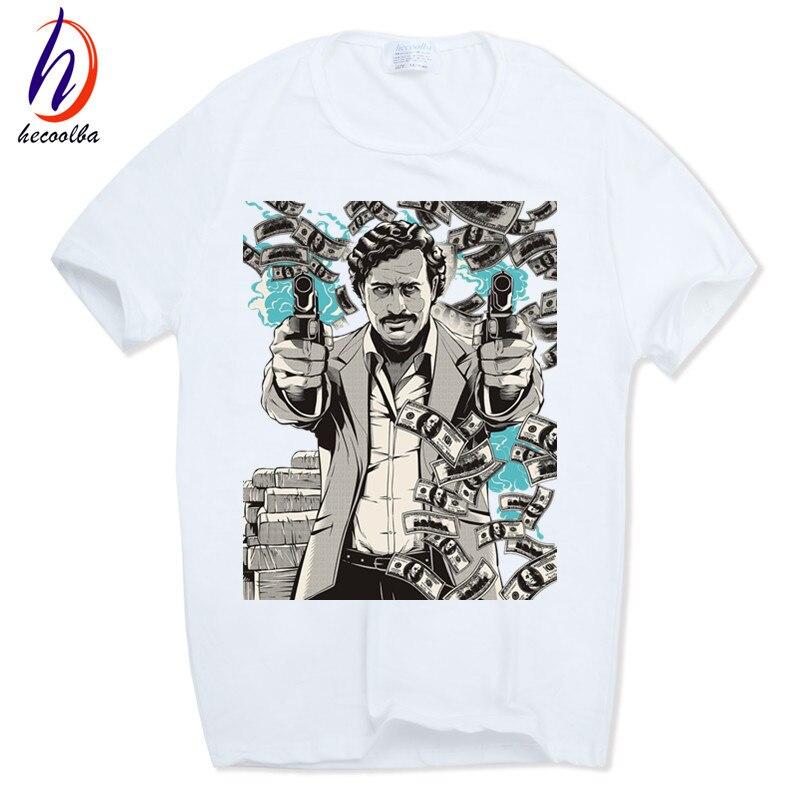 Pablo Escobar Hecoolba 2017 Nuevos hombres de Impresión T Shirt Homme Netflix O-cuello de Manga Corta de Verano Casual Hipster Swag HCP285