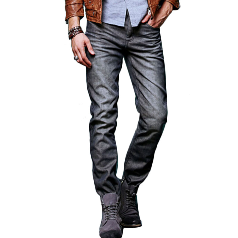 Mens winter without stretch straight slim jeans with warm high quality cotton gray gray blue jeans trousers pants size 28-38