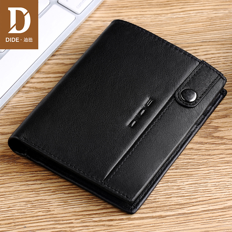 DIDE Fashion Designer 100% Genuine Leather Cowhide Black Wallet Men and Women Short Wallet Purse Card Holder Male Wallets men wallet male cowhide genuine leather purse money clutch card holder coin short crazy horse photo fashion 2017 male wallets