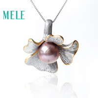 Natural freshwater pearl pendants for women,11mm round and flower shape wtih lavender color 925 sterling silver fashion jewelry