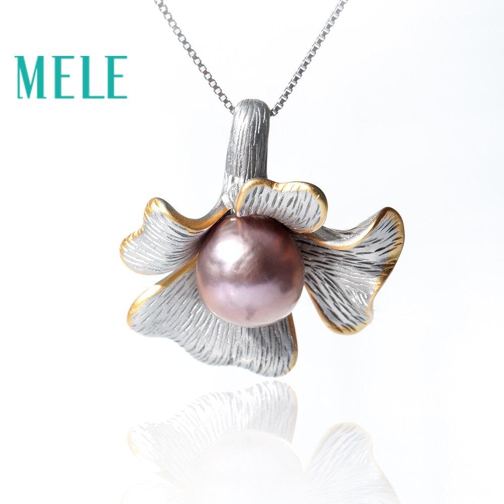 Pendentifs en perles deau douce naturelles pour femmes, forme ronde et fleur de 11mm avec couleur lavande 925 bijoux en argent sterlingPendentifs en perles deau douce naturelles pour femmes, forme ronde et fleur de 11mm avec couleur lavande 925 bijoux en argent sterling
