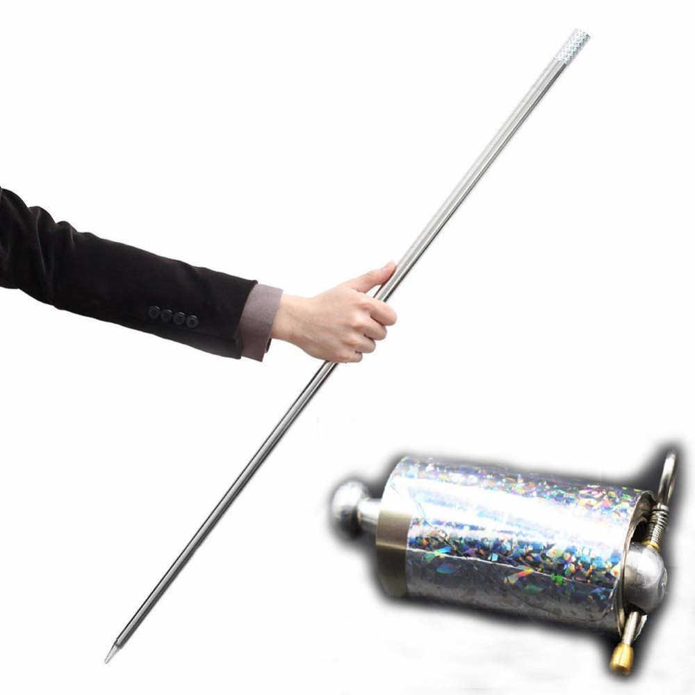 Волшебная палочка, появляющаяся в виде тростника, серебряная дубинка, металлические фокусы для профессионального волшебника, для сцены, улицы, для приближения, иллюзия, 110 см
