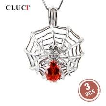 CLUCI 3 uds gran plata 925 en forma de araña relicario de perlas Zircon para mujeres collar joyería 925 colgante de plata esterlina SC152SB
