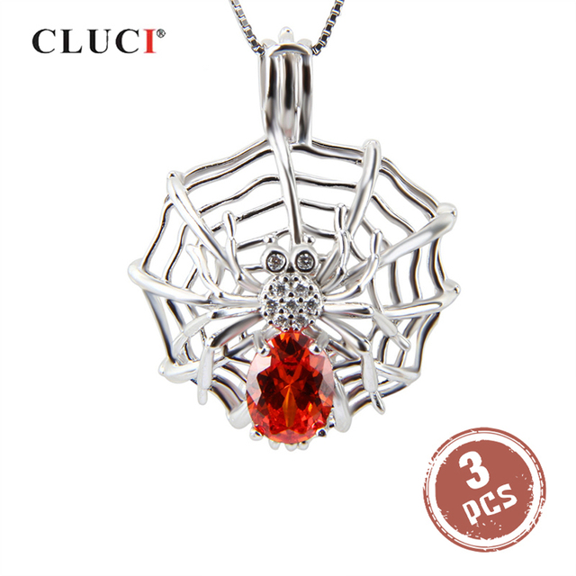 CLUCI 3pcs Big Silver 925 Spider Shaped Pearl Locket Zircon for Women Necklace Jewelry 925 Sterling Silver Pendant SC152SB