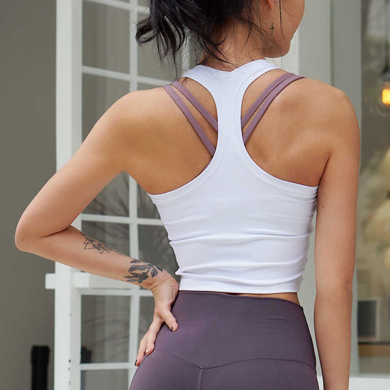 CretKoav Sports Vest Women's Running Fitness T Shirts Sexy Crop Top Workout Quick-Dry Yoga Tank Tops Elastic Tight Gym Clothes