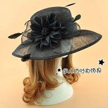 Royal mujer nupcial sombreros fortín sombreros del Fascinator invitado de boda sombrero de noche Formal Headwear fieltro sombrero de plumas posición elevada Fascinator