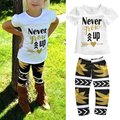 "Little Girls ""Never Grow Up"" T-shirt and Maple Leaves Pants Outfit LH6s"