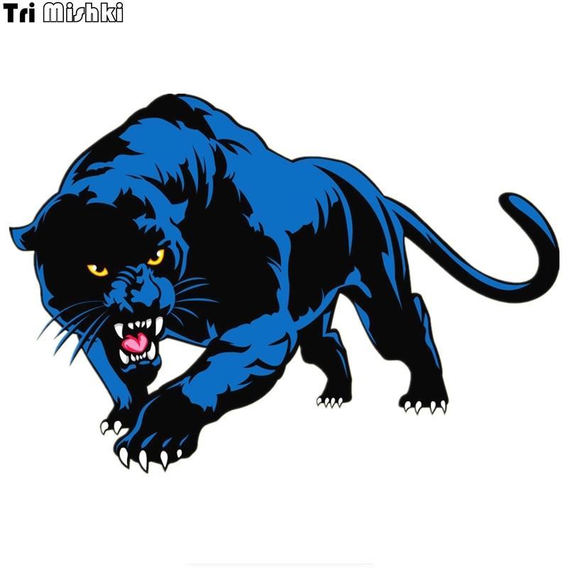Tri Mishki 20*14cm Blue Panther Print Colorful Car Sticker Decals Accessories Animal On Car Auto Sticker Araba Aksesuar HZX433