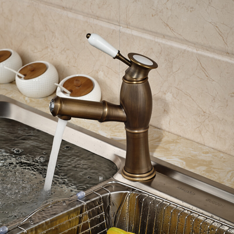 Brand New Antique Brass Pull Out Kitchen Sink Faucet Deck Mount ...