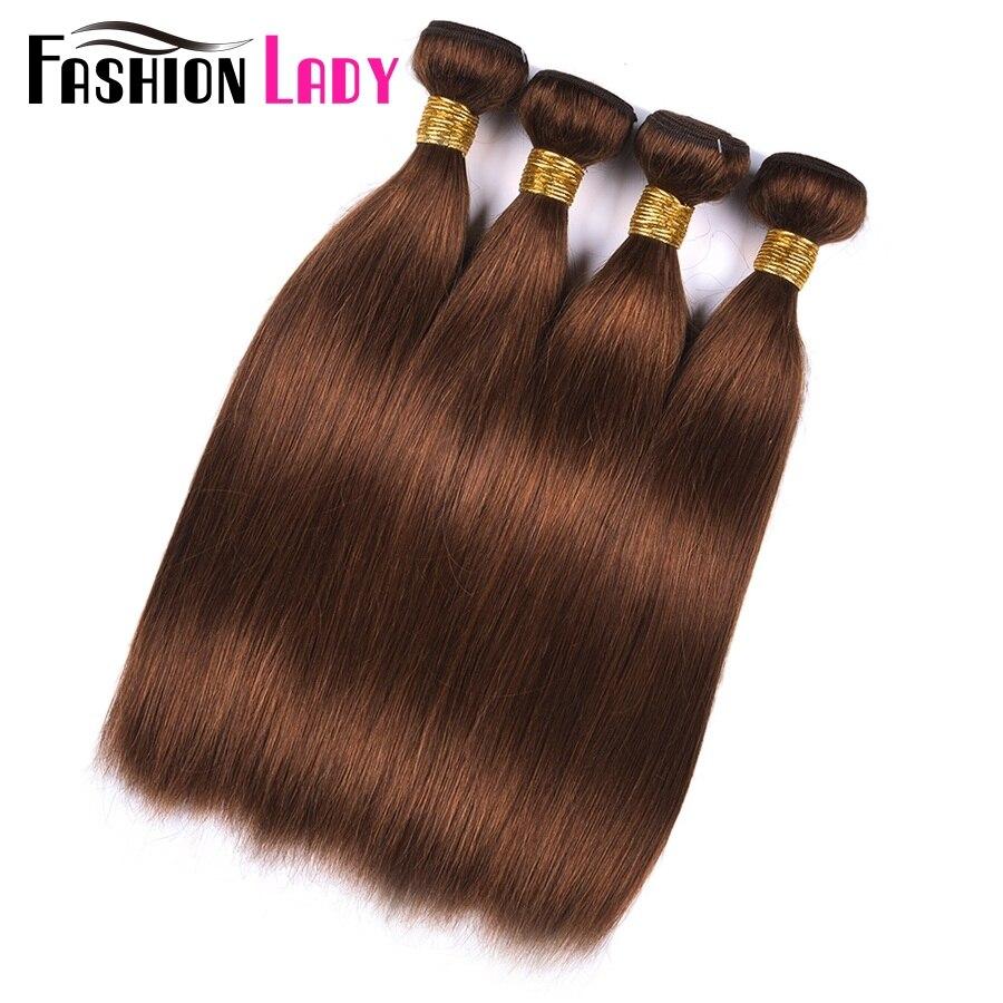 Fashion Lady Pre-Colored Indian Straight Hair Bundles 4# 100% Human Hair Weave 4 Bundle Deals Hair Bundles Brown Non-Remy