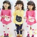 Ropa de los bebés fijó 2 unidades de gato de dibujos animados de manga larga shirt + leggings niñas casuales ropa de niños del otoño del resorte ropa