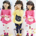 baby girls clothing set 2 pieces cartoon cat long sleeve shirt + leggings casual girls clothes set  spring autumn kids clothes