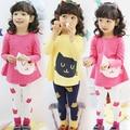 baby girls clothing set 2 pieces cartoon cat long sleeve shirt + leggings casual girls clothes set  spring autumn kids clothes