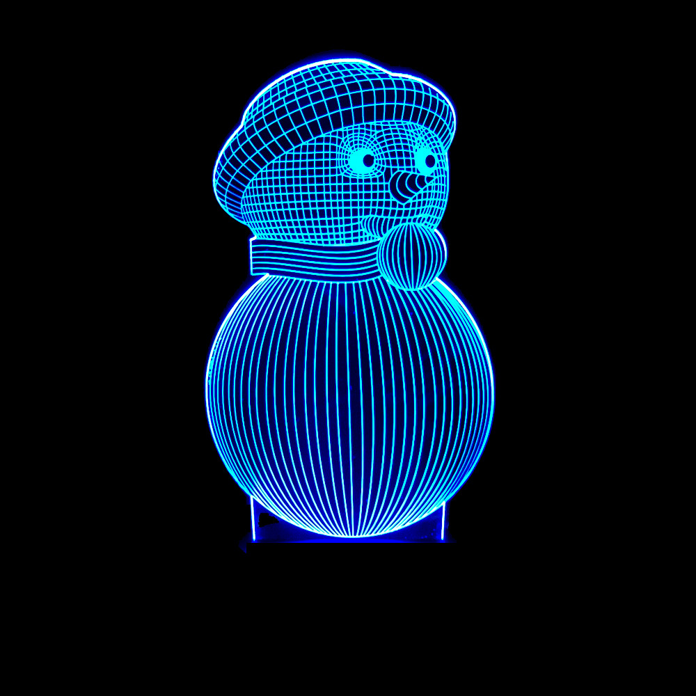 Christmas Snowman Colorful 3d Lamp Led Illusion Lamp Novelty Luminaria Led Led Night Light Powerbank Usb Led Kids Lamp