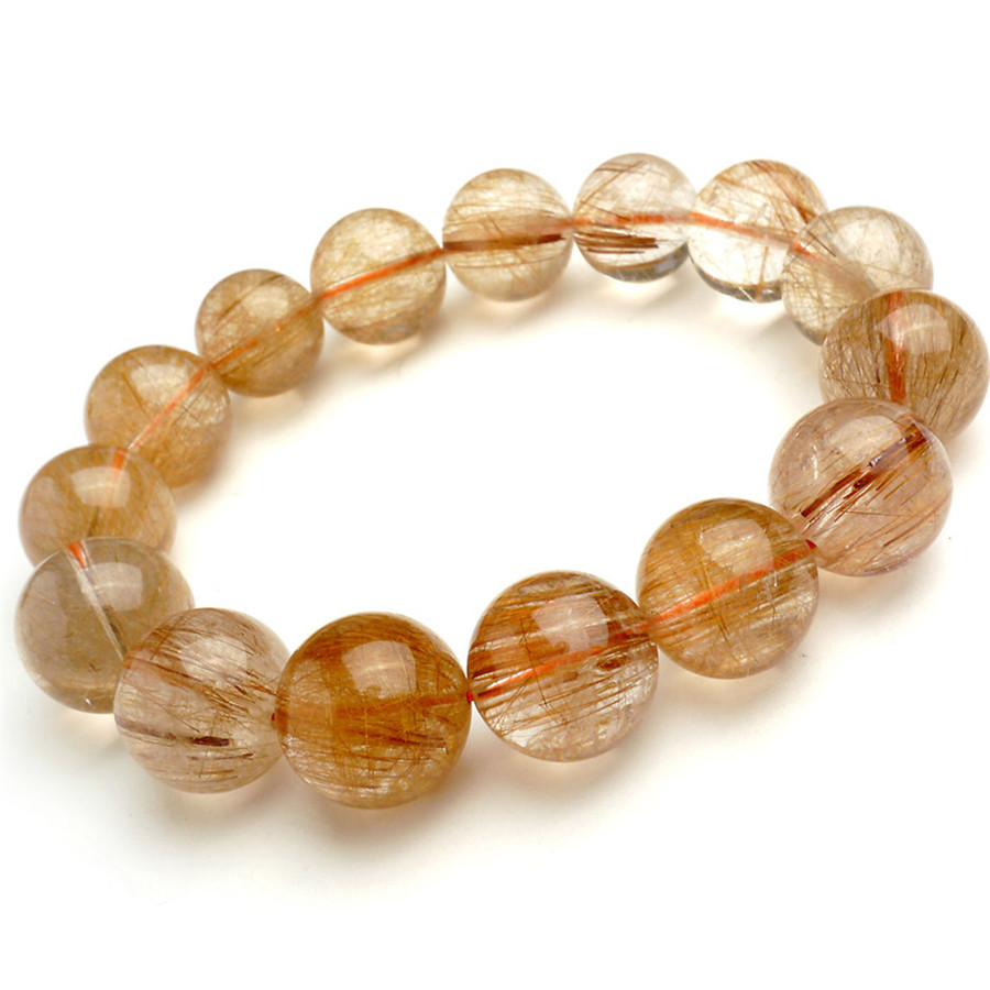 16mm Natural Copper Rutilated Quartz Crystal Bracelets For Women And Men Big Round Beads Stretch Bracelet Just One16mm Natural Copper Rutilated Quartz Crystal Bracelets For Women And Men Big Round Beads Stretch Bracelet Just One