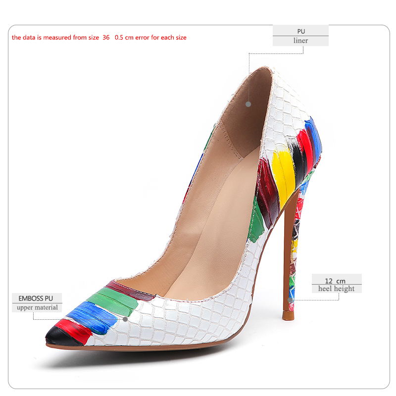 Image 2 - WETKISS Emboss Leather Pumps Women Pointed Heels 12cm Shallow Shoes Female Colorful Shoes Crocodile High Heels Party Summer 2019-in Women's Pumps from Shoes