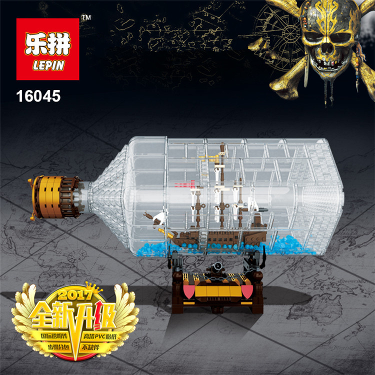 Lepin 16045 Genuine Creative Series The Ship In The Bottle Set Building Blocks Bricks Educational Toys Model As Boy Gifts lepin 22002 1518pcs the maersk cargo container ship set educational building blocks bricks model toys compatible legoed 10241