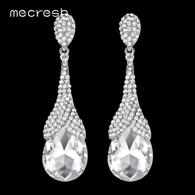 Mecresh серебряное Цвет Teardrop длинные серьги 2018 цветок Форма свадебные серьги-подвески яркие свадебные украшения MEH1085