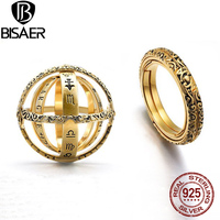 BISAER 925 Sterling Silver French Astronomical Sphere Ball Ring Cosmic Rotating Constellations Ring Silver 925 Jewelry Anel