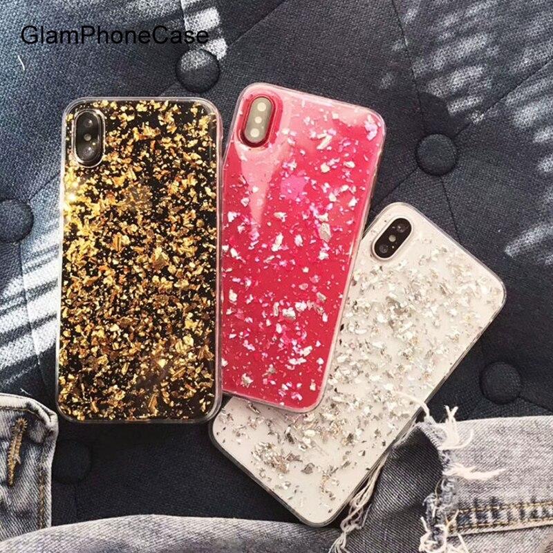 GlamPhoneCase Or Feuille D'argent Bling Paillette Sequin Couverture Pour iphone X 7 8 6 6 S Plus Molle Claire TPU Gel En Caoutchouc Fundas