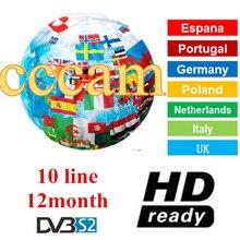 2019 Специальное Для Европы HD 1 год CCCam ТВ приемник 10 резких перемен температуры для DVB-S2 v7s V8 супе