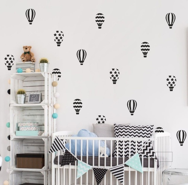 30pcs/set Hot Air Balloon Wall Stickers For Kids Room Girls Bedroom Baby  Nursery Wall