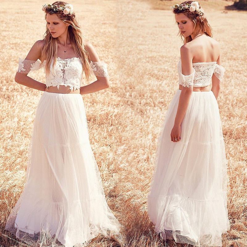 Vestidos de noiva 2016 boho wedding dress lace two pieces for Bohemian beach style wedding dresses