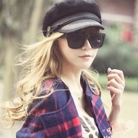 Spring And Summer Korean Version Duck Hat Fashion Ms Lace Navy Cap Flat Cap