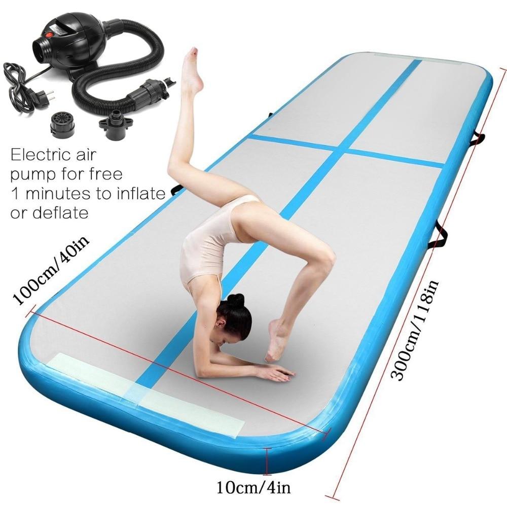 Gonflable Gymnastique AirTrack Tumbling Air Piste Plancher Trampoline Pompe À Air Électrique pour un Usage Domestique/Formation/Cheerleading/Plage