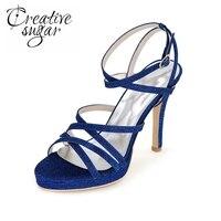 Creativesugar Glitter argent or bleu bandes étroites femme sandale d'été chaussures bride à la cheville talons parti cocktail robe de bal chaussures