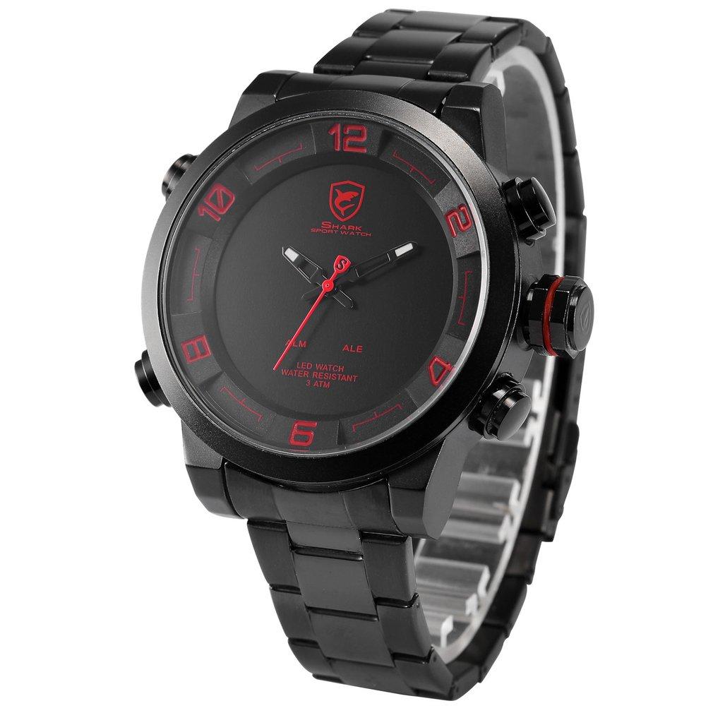 645351ff84aa Gulper SHARK reloj deportivo digital rojo negro banda de acero de doble  movimiento de Cuarzo Fecha Alarma LED Reloj De Pulsera de Los Hombres    SH360 en ...